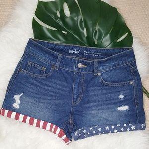 Mossimo American Flag Print Denim Shorts